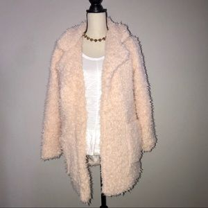 Jackets & Blazers - AMY Faux Shearling Fuzzy Coat/Cardigan In Blush